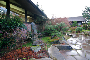 Japanese Garden at Bainbridge Island Public Library. The July 17th Internet discussion will be in the Library's public meeting room.