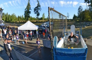 At the Bainbridge Island National Night Out, the dunk tank features City and School officials and community celebrities.