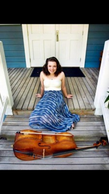 Catherine Edwards and her cello. Photo credit: Antonia Stoyanavich
