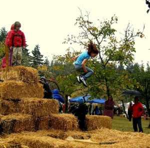 Hay bale jumping for the kids at a previous Harvest Fair