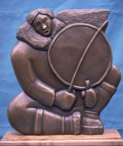 "From the current BIMA show: Larry ""Ulaaq"" Ahvakana , Young Inupiat Drummer, In Relief; bronze"
