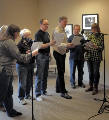 "The cast of Island Theater, reading the finale of ""Dear Editor"" at the BCB studios on March 1, 2015"
