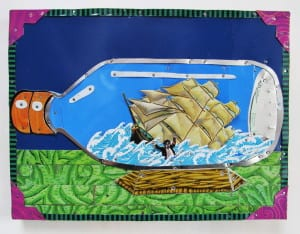 """That Sinking Feeling"" is one of the Jenny Fillius tin montage creations in the ""Cut and Bent"" group exhibition, now at Bainbridge Island Museum of Art (BIMA)"