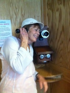 This hand-crafted phonebooth at the Community Center will automatically record your story.