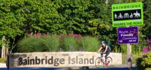 A cyclist at Waypoint Park is one of a dozen images on the City's home page.