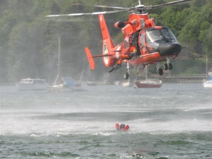Rescuer jumping at demo at Waterfront Park Boat Show May 2007 (Medium)