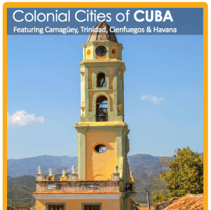 The brochure for the Parks and Rec District October 17 group trip to Cuba is available from Coleen Edwards at 842-1616