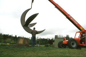 Last month, a crane lowered the 10-foot sundial framework onto its 3-foot base in Battle Point Park