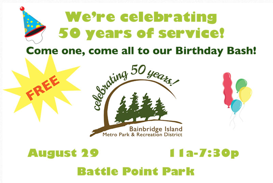 <i>Podcast: What's Up Bainbridge</i> <br>BI Parks and Rec celebrates 50th birthday bash Aug 29 at Battle Point