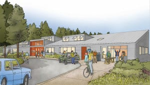 Architect's rendering of the new BARN - a two-story 25,000 square foot center for creative collaborative work for people of all ages