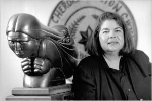 Wilma Mankiller, who died of cancer in 2010, being survived by her husband Charlie Soap and two daughters.