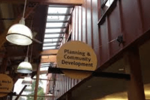 Planning and Community Development sign at City Hall