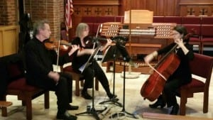 Three members of the Beau Quartet at St Barnabas. Podcast guest Steve is at left.