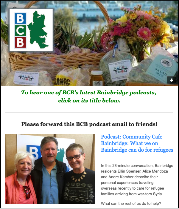 Sample of BCB podcast email notice with border