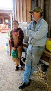 Farmer Brian McWhorter and Heyday Farm intern Catherine Nguyen