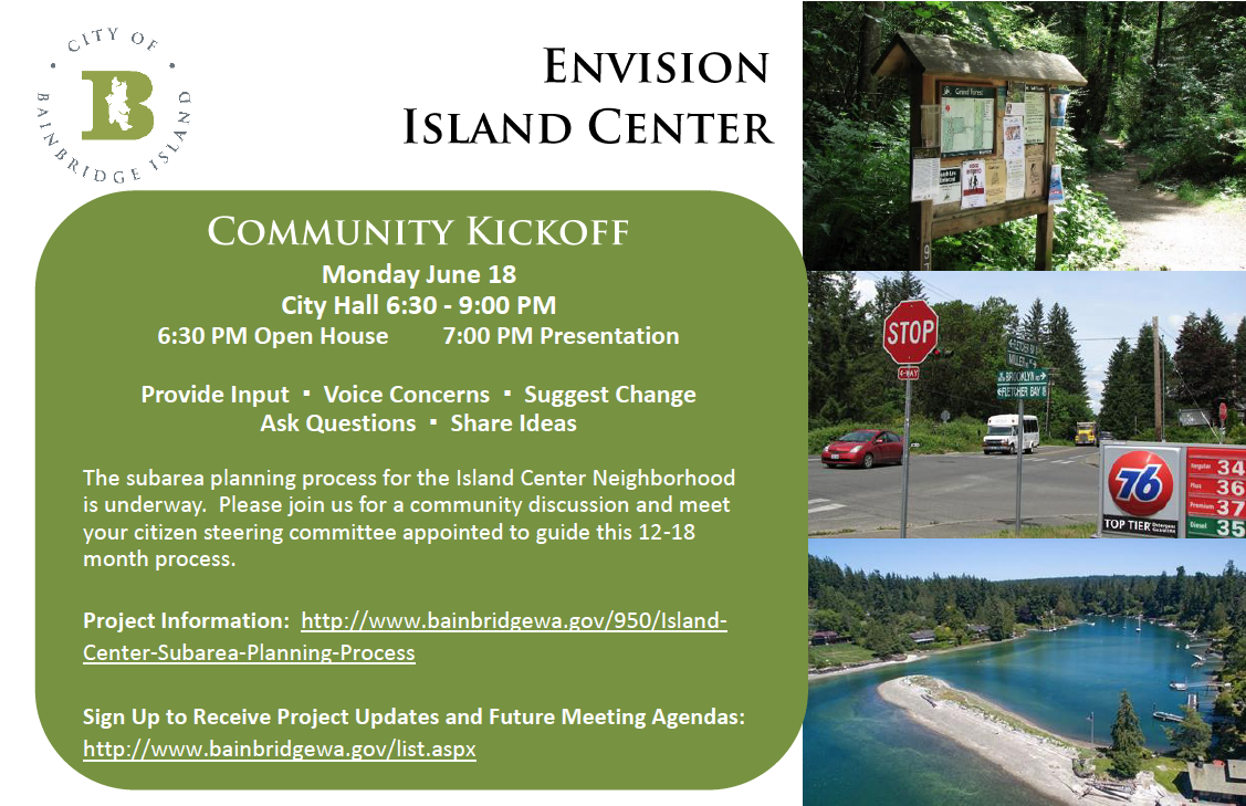 <i>Podcast: What's Up Bainbridge: </i><br>Island Center Planning Meeting June 18